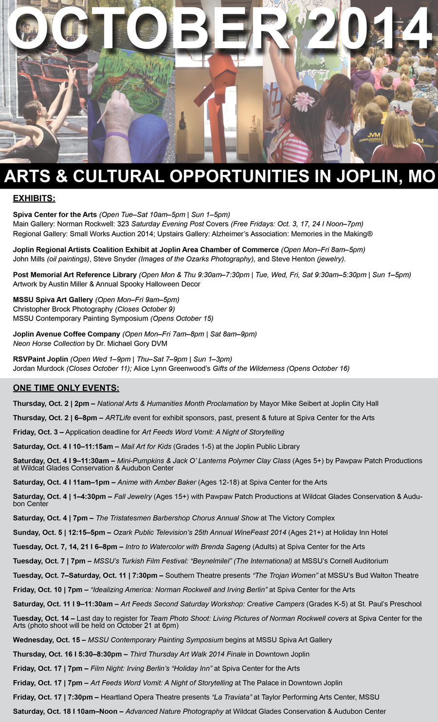 National Arts & Humanities Month List of Activities in Joplin, MO