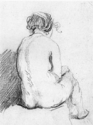 Sitting woman, drawing in black crayon, school of Rembrandt (17th century)