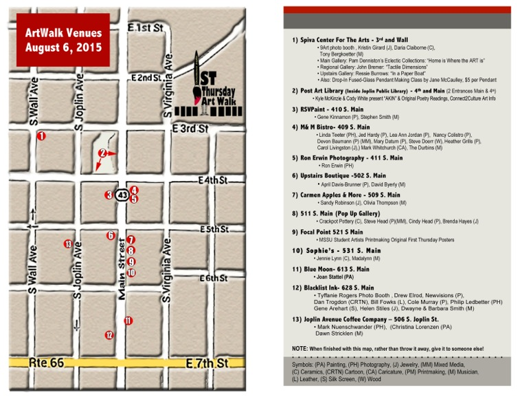 Art Walk Map - August 2015
